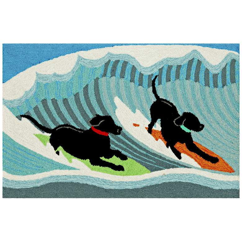 """Frontporch Surfing Dogs 147304 2'6""""x4' Blue Outdoor Area Rug"""