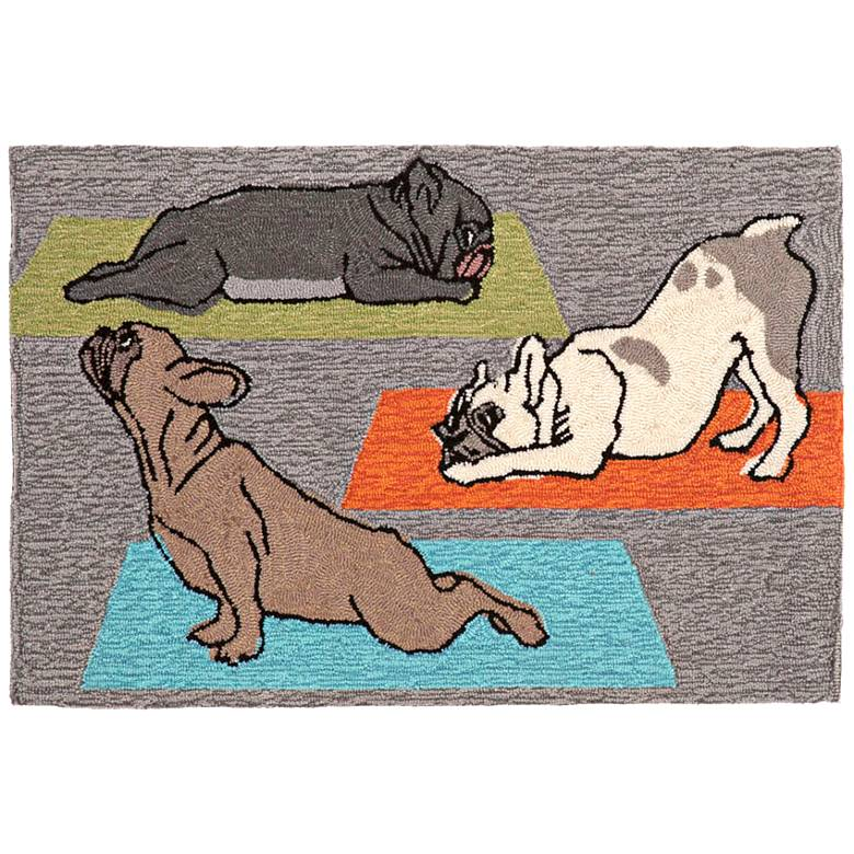 Frontporch Yoga Dogs 148847 Gray Outdoor Area Rug