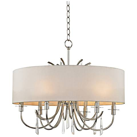"Crystorama Cody 26"" Wide Polished Nickel 6-Light Chandelier"