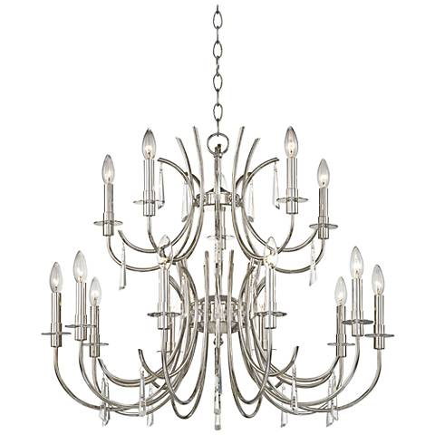 "Crystorama Cody 31 1/2""W Polished Nickel 15-Light Chandelier"