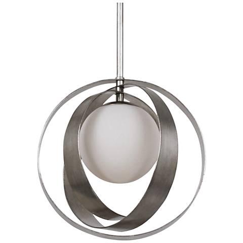 "Crystorama Arlo 12"" Wide Antique Silver Mini Pendant"