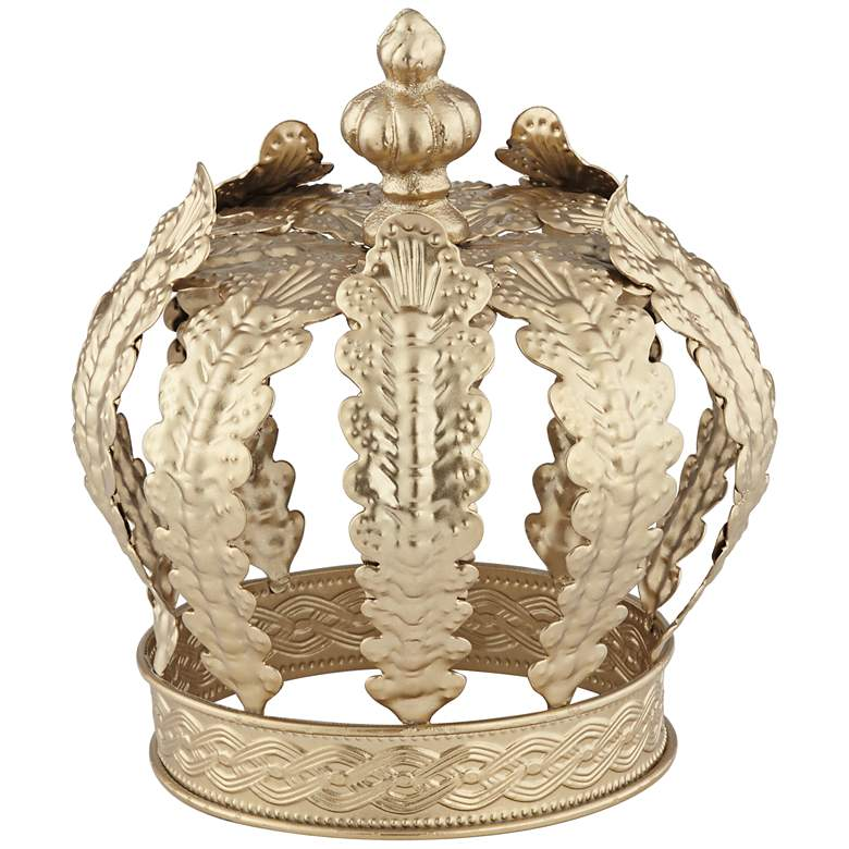 "Crown 7 1/2"" High Gold Metal Sculpture"