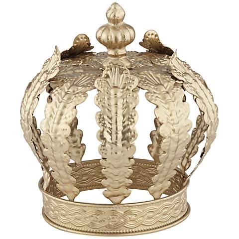 "Crown 7 1/2"" High Gold Metal Sculpture"