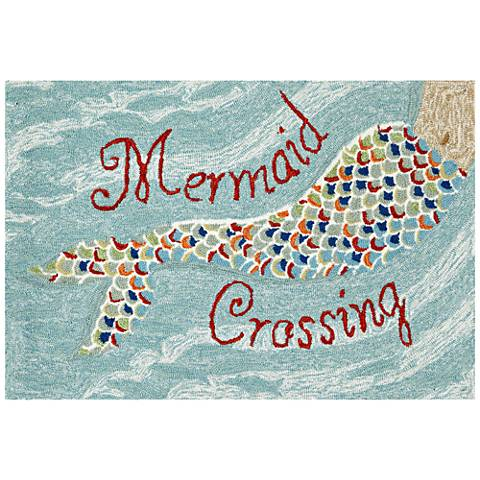 Frontporch Mermaid Crossing 144803 Blue Outdoor Rug