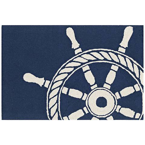 Frontporch Ship Wheel 145633 Navy Outdoor Area Rug