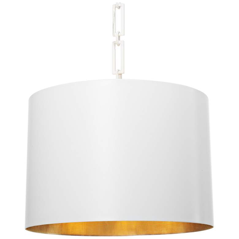 "Crystorama Alston 20""W Matte and Gold White Pendant"
