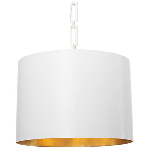 "Crystorama Alston 20""W Matte and Gold White Pendant Light"