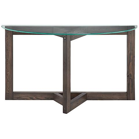 Beck glass top and dark chocolate wood demilune sofa table 22n38 beck glass top and dark chocolate wood demilune sofa table watchthetrailerfo