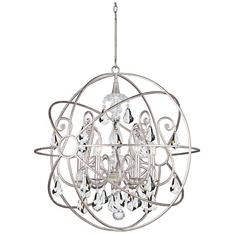 "Crystorama Solaris 28""W Olde Silver Sphere 6-Light Pendant"