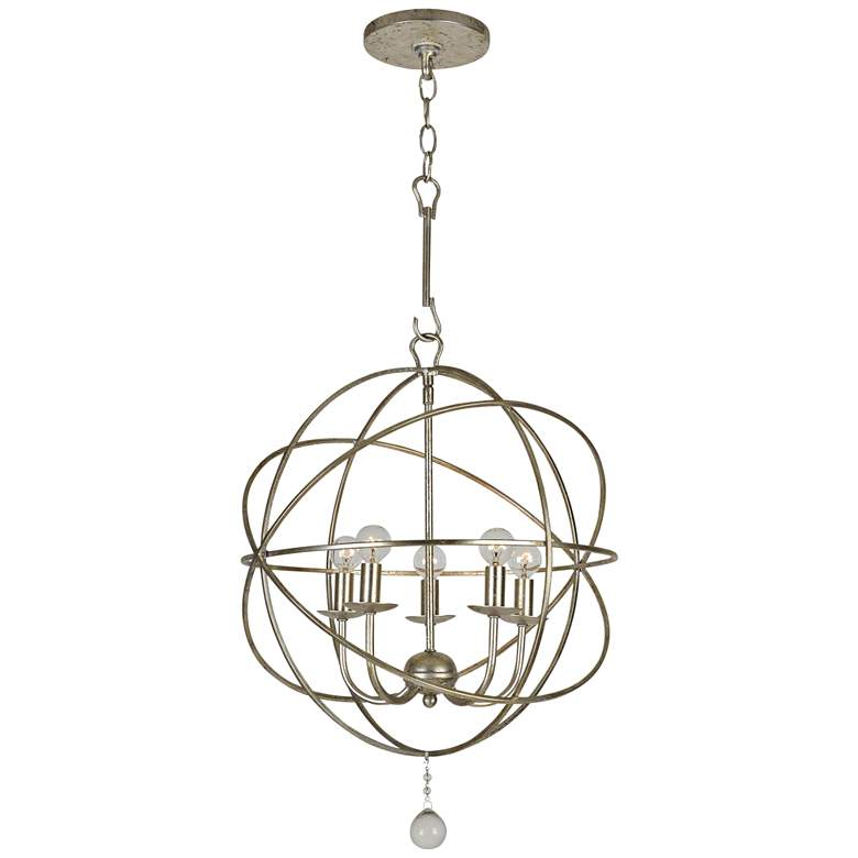 "Crystorama Solaris 17"" Wide Olde Silver 5-Light Pendant"
