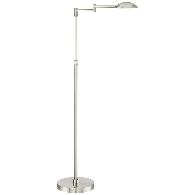 Possini Euro Eliptik Swing Arm LED Floor Lamp Satin Nickel