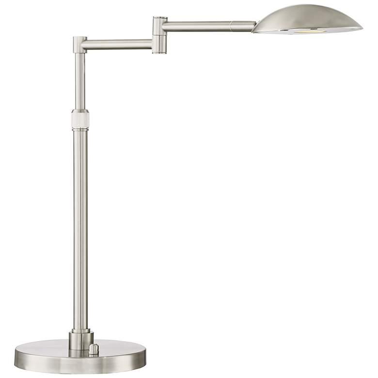 Possini Euro Eliptik LED Swing Arm Desk Lamp Satin Nickel