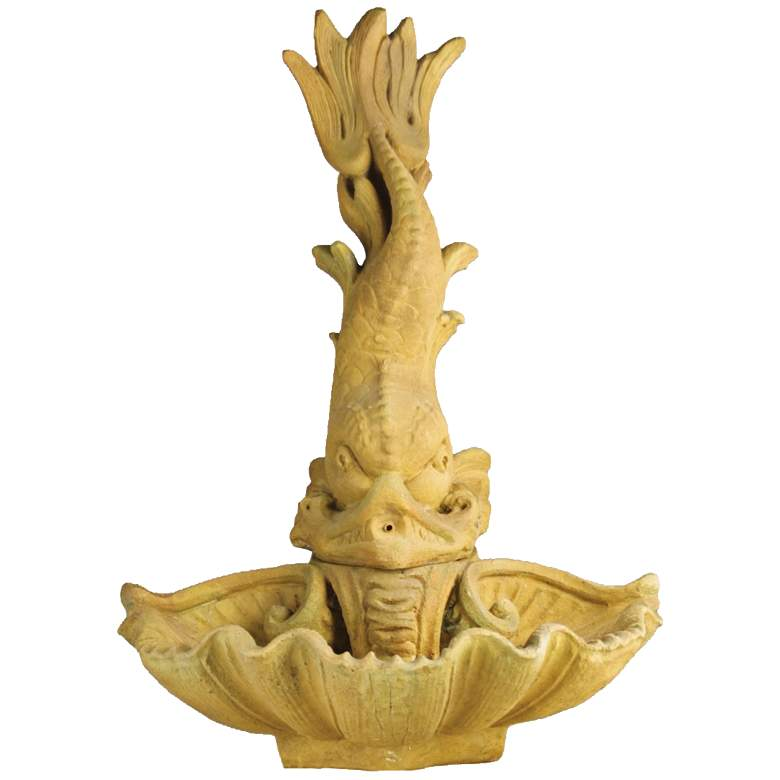 """Dolphin Spitting and Shell 34""""H Sandstone Outdoor Fountain"""