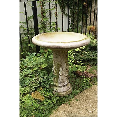 """Musical Cherubs 28"""" High White Moss Outdoor Bird Bath"""