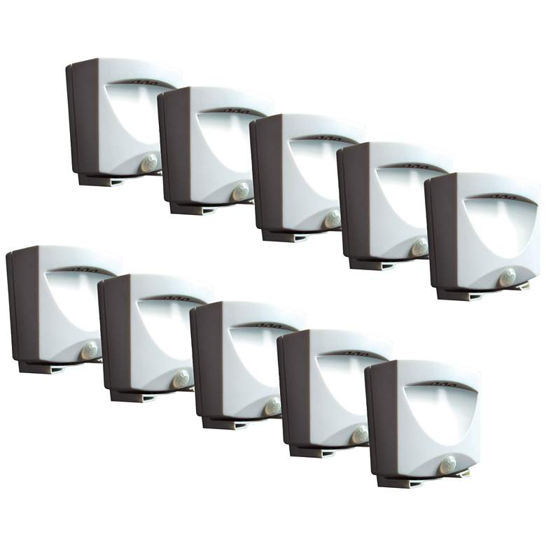 10-Pack White Battery LED Outdoor Night Lights