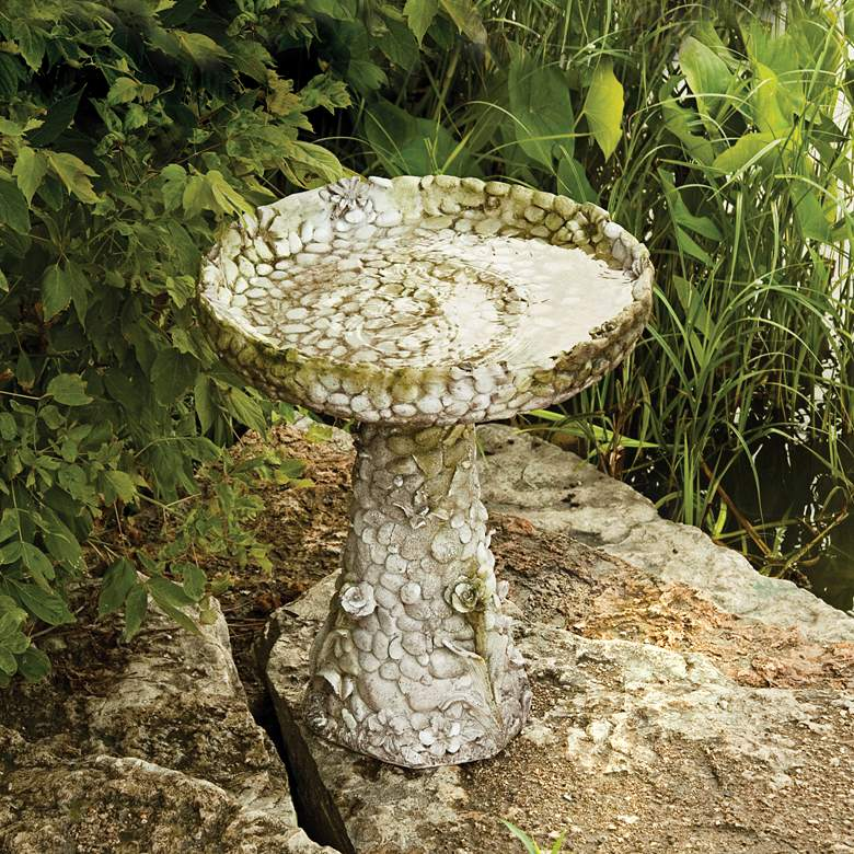 "Stone and Flower 22"" High White Moss Outdoor Bird Bath"