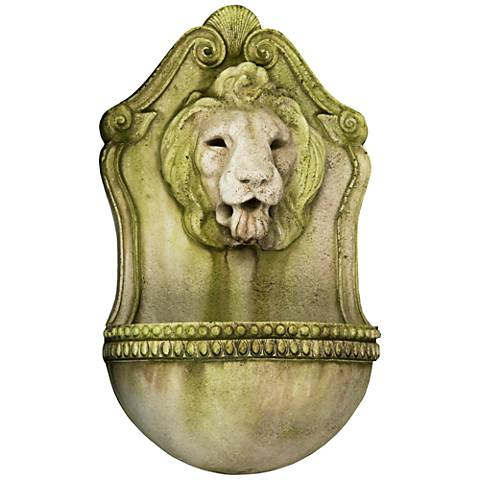 "Aged Lion 23 1/2"" High White Moss Outdoor Wall Fountain"