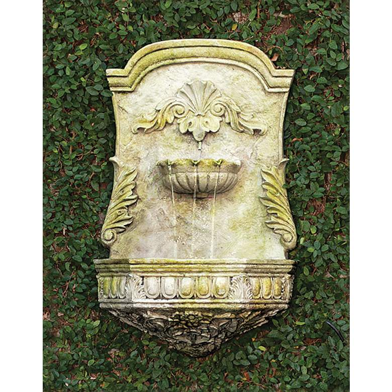"Scroll 29"" High White Moss Outdoor Wall Fountain"