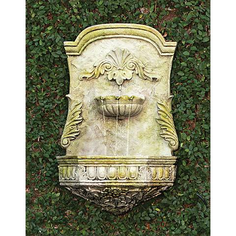 "Scroll 28 1/2"" High White Moss Outdoor Wall Fountain"