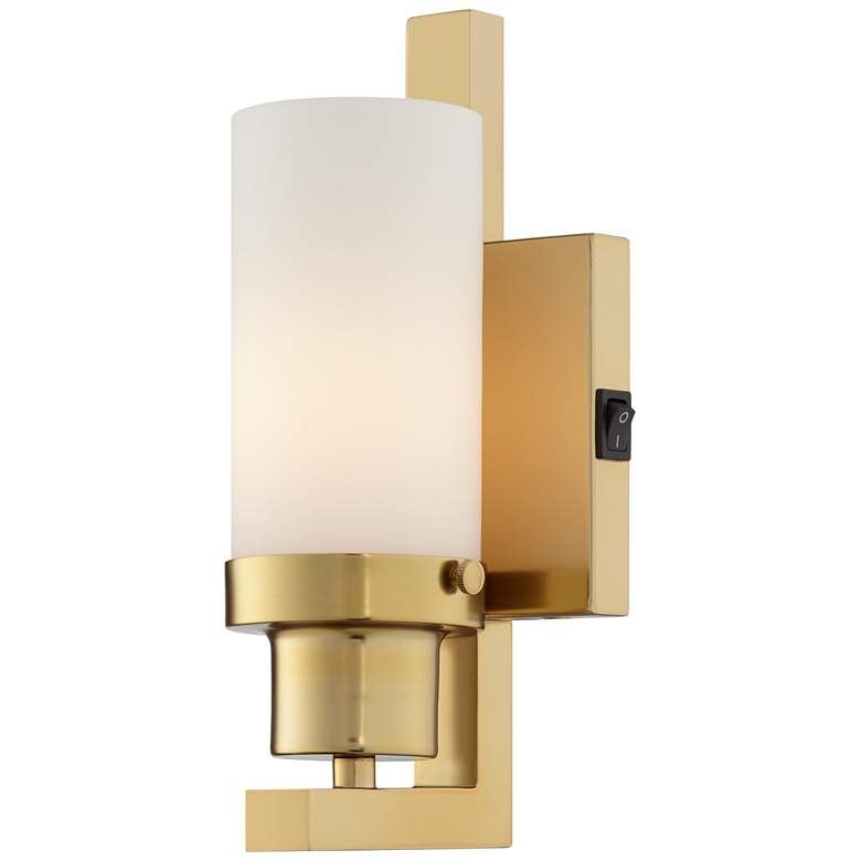 """22V39 - 10 """" Wall Lamp in brass finish with rocker switch"""