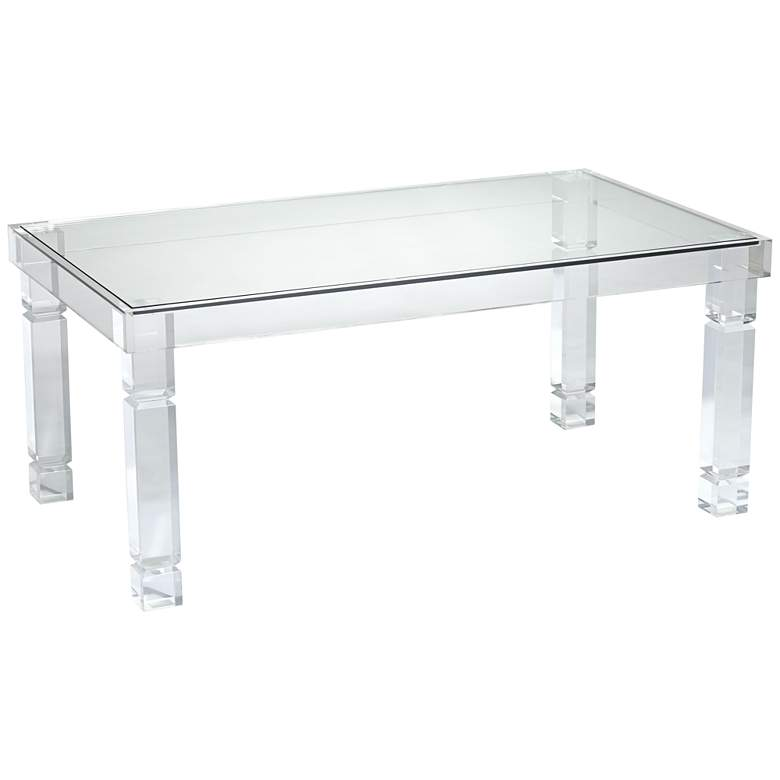 "Marley 42"" Wide Clear Acrylic Rectangular Coffee Table"