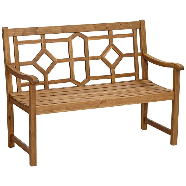"Pacific Grove 47 1/2""W Natural Wood Geometric Outdoor Bench"