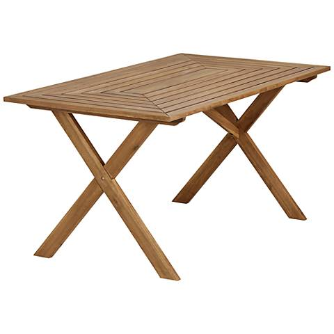 "Nantucket 61"" Wide Natural Wood Outdoor Picnic Table"