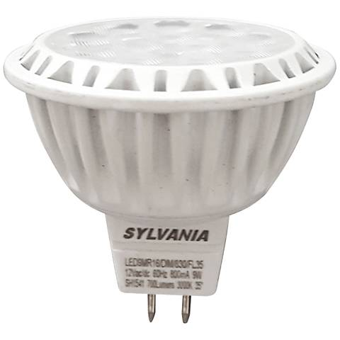 50W Equivalent Sylvania Frosted 9W LED Dimmable GU5.3 MR16