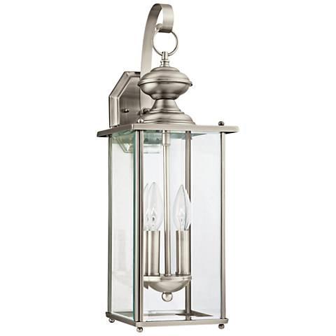 "Jamestowne 20 1/4""H Nickel 2-Light LED Outdoor Wall Light"