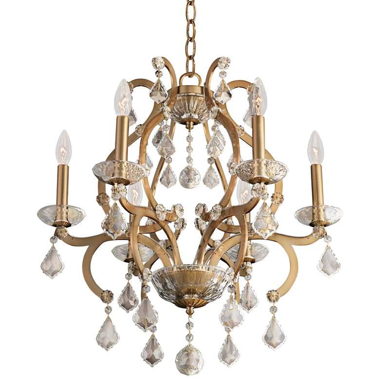 """Allegri Duchess 22"""" Wide Champagne Gold 6-Light Chandelier"""