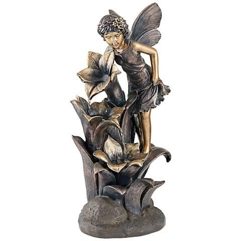 "26"" High Indoor/Outdoor Bronze Fairy and Flower Fountain"