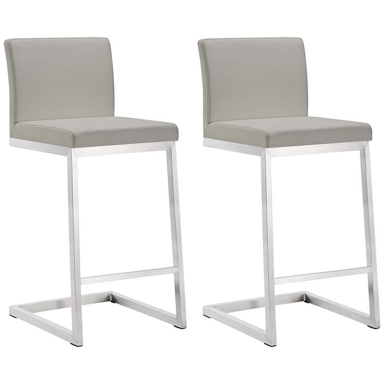 """Parma 26"""" Light Gray and Steel Counter Stool Set of 2"""