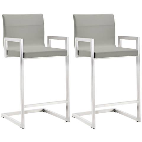 "Milano 26"" Light Gray and Steel Counter Stool Set of 2"