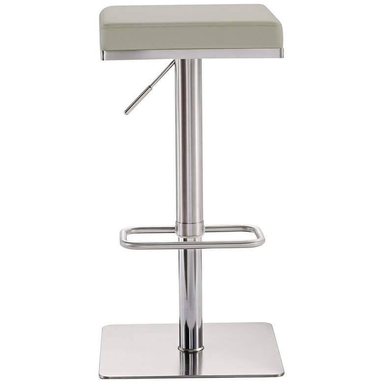 "Bari 31 1/2"" Light Gray and Steel Adjustable Swivel Barstool"