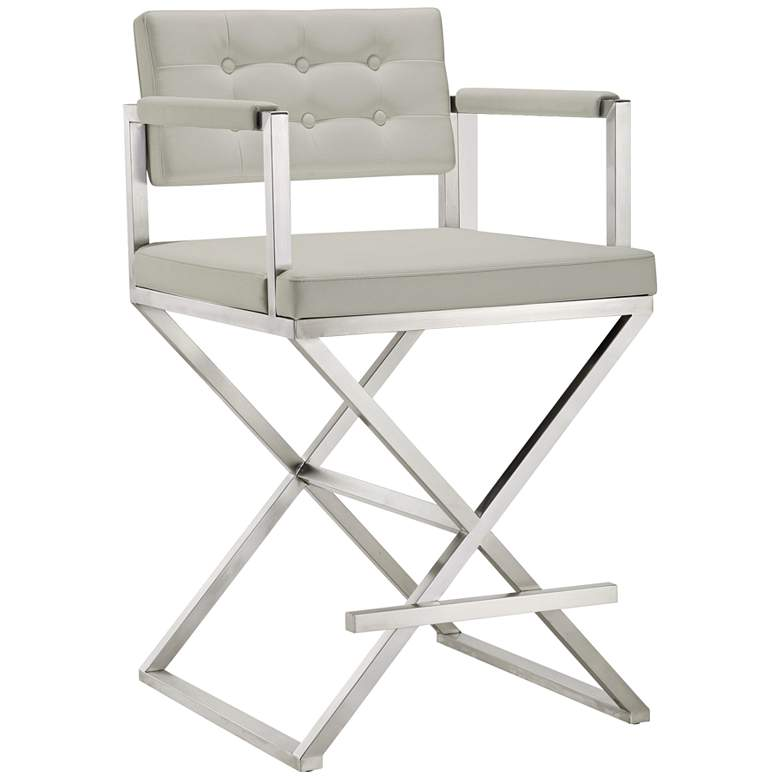 """Director 26"""" Light Gray and Steel Tufted Counter Stool"""