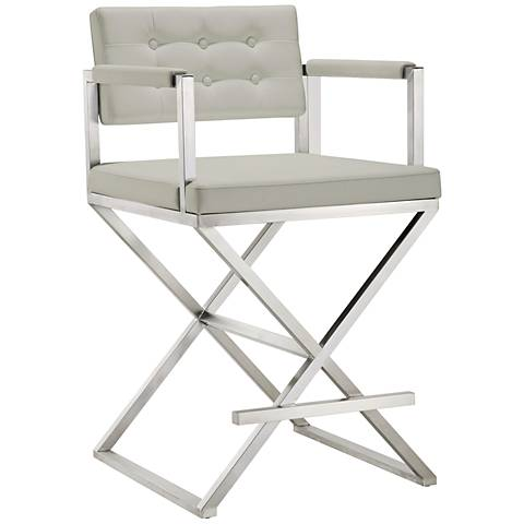 "Director 26"" Light Gray and Steel Tufted Counter Stool"