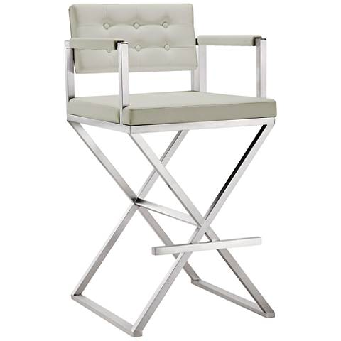 """Director 30"""" Light Gray and Steel Tufted Barstool"""