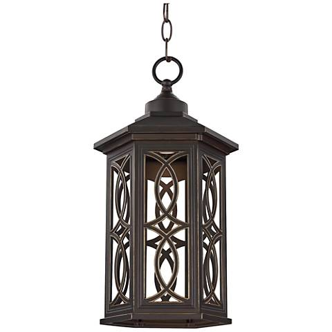 """Ormsby 16 1/2"""" High Antique Bronze LED Outdoor Hanging Light"""