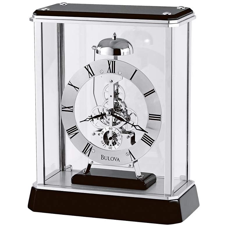 "Vantage Black and Chrome 10"" High Bulova Table Clock"