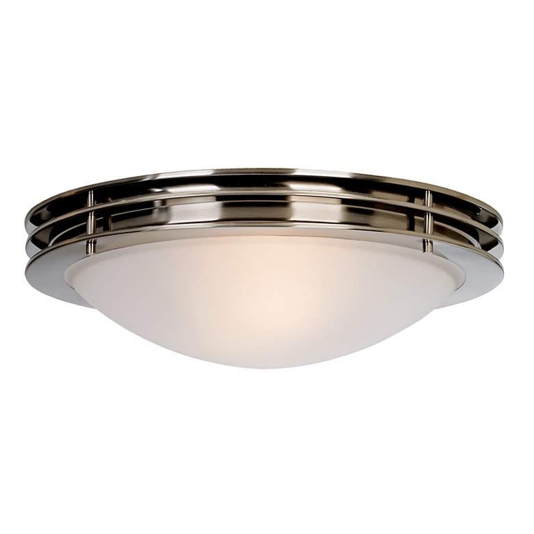 "Possini Euro 16"" Wide Brushed Nickel Bowl Ceiling Light"