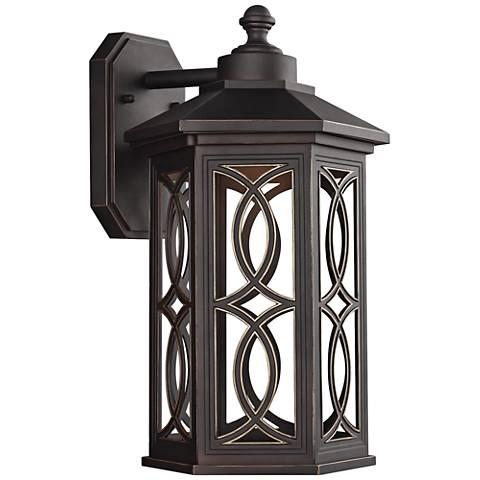 """Ormsby 15 1/2"""" High Antique Bronze LED Outdoor Wall Light"""