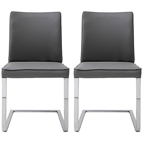 Ivy Gray Faux Leather and Chrome Dining Chair Set of 2