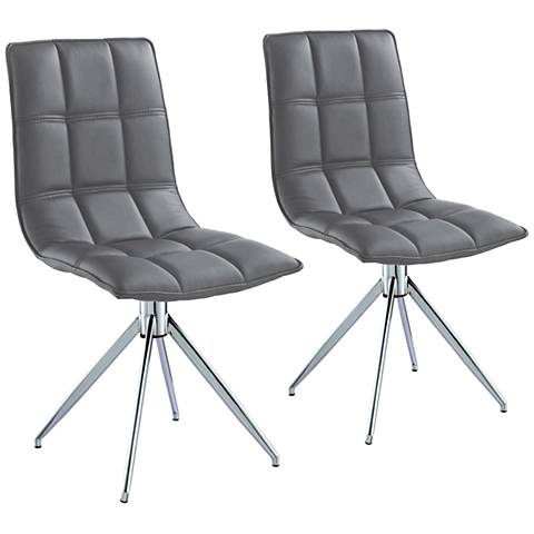 Apollo Gray Faux Leather Swivel Dining Chair Set of 2