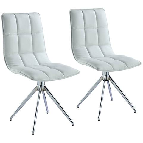 Apollo White Faux Leather Swivel Dining Chair Set of 2