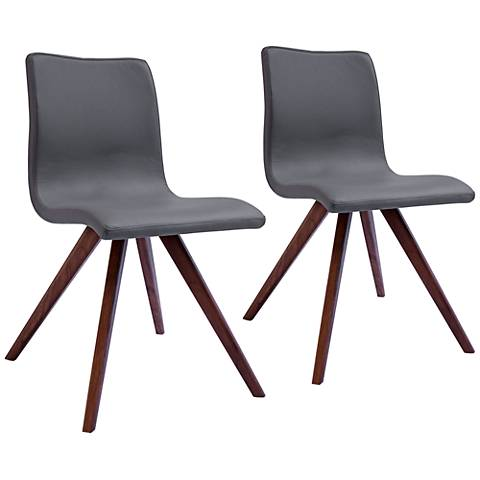 Olga Gray Faux Leather and Natural Dining Chair Set of 2