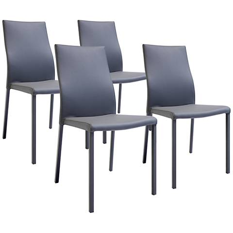 Ellie Gray Faux Leather Dining Chair Set of 4
