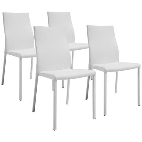 Ellie White Faux Leather Dining Chair Set of 4