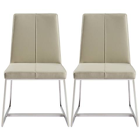 Egypto Taupe Faux Leather Dining Chair Set of 2