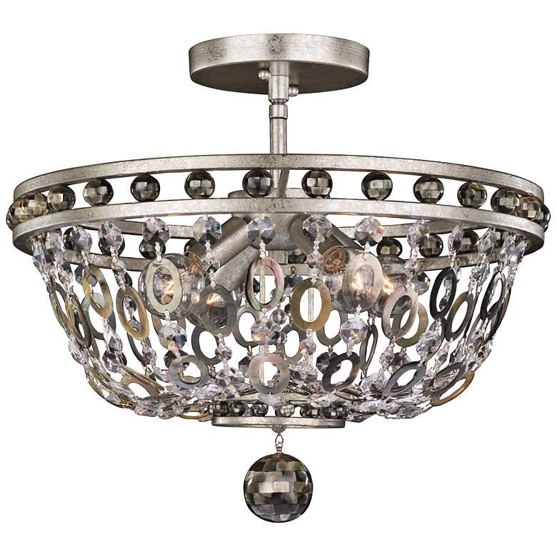 """Allegri Lucia 17""""W Vintage Silver Leaf 4-Light Ceiling"""