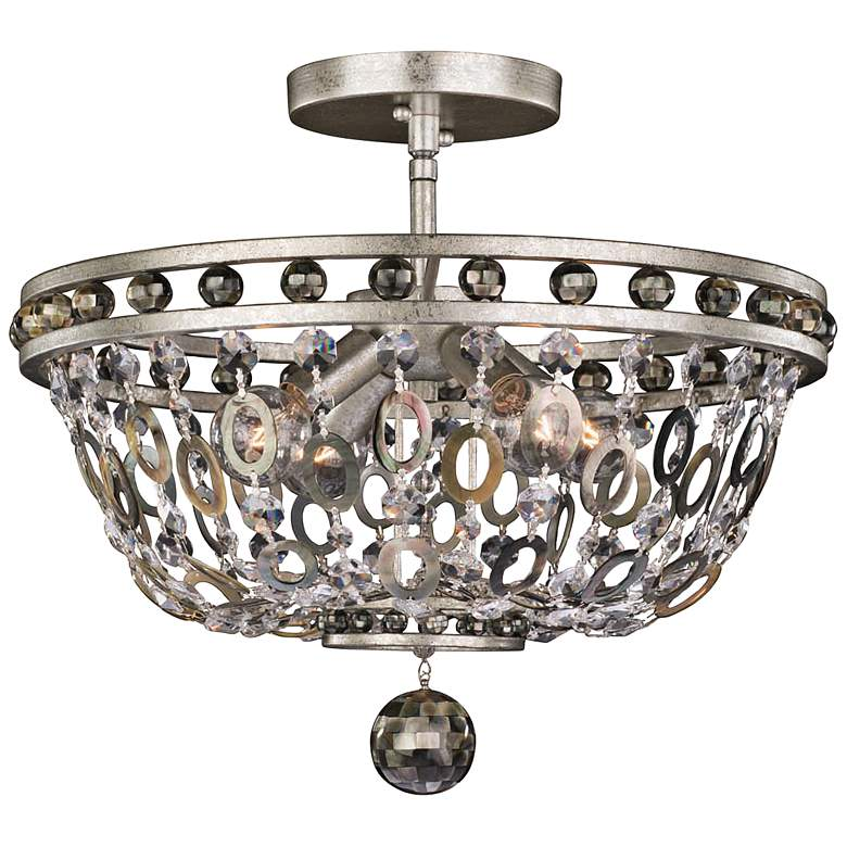 "Allegri Lucia 17""W Vintage Silver Leaf 4-Light Ceiling Light"